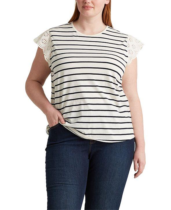 Lauren Ralph Lauren Plus Size Ruffle Sleeve Top