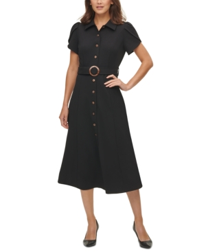 Vintage Shirtwaist Dress History Calvin Klein Tulip-Sleeve Shirtdress $112.99 AT vintagedancer.com