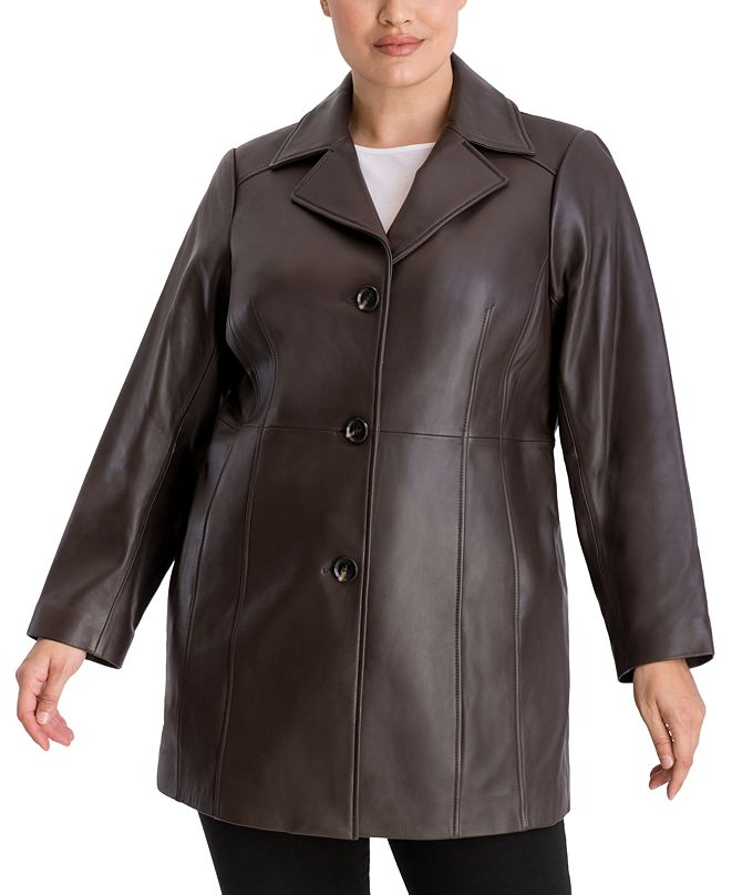Anne Klein Plus Size Button-Up Leather Jacket