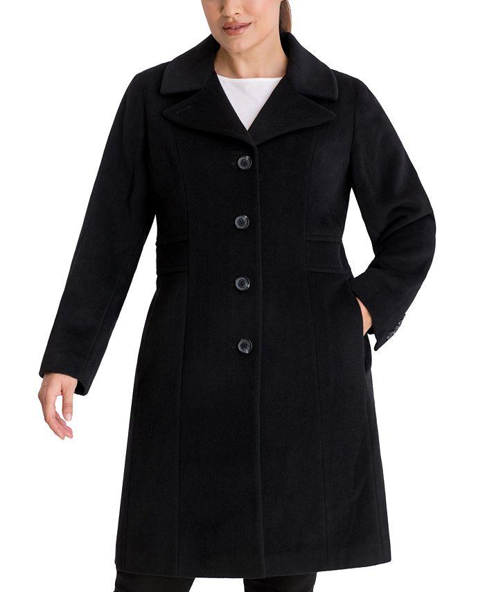 Anne Klein - Plus Size Single-Breasted Walker Coat