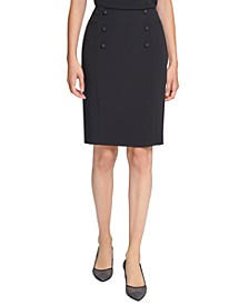Front-Button Pencil Skirt