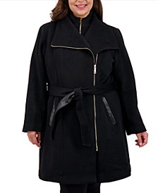 Plus Size Belted Wrap Coat, Created for Macy's