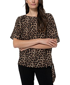 Leopard-Print Side-Tie Top, Regular & Petite Sizes