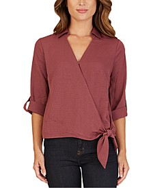 Juniors' Collared Faux-Wrap Top