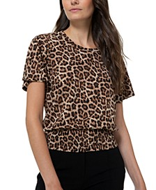 Smock-Waist Leopard-Print Top, Regular & Petite