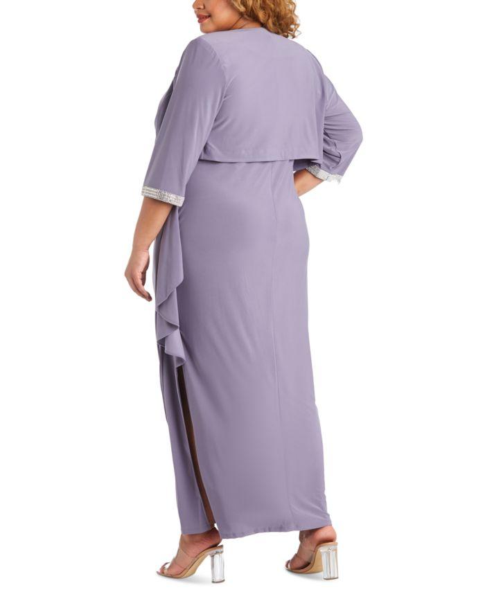 R & M Richards Plus Size Embellished Gown & Jacket & Reviews - Dresses - Plus Sizes - Macy's
