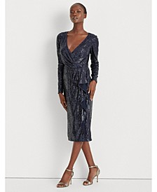 Sequinned Surplice Dress