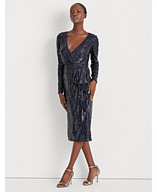 Lauren Ralph Lauren Sequinned Surplice Dress