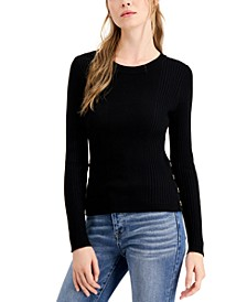 Juniors' Ribbed Sweater with Buttons