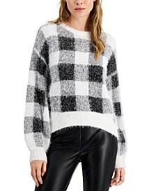 Juniors' Fuzzy Plaid Sweater