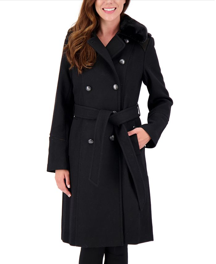 Vince Camuto - Petite Double-Breasted Faux-Fur-Collar Coat