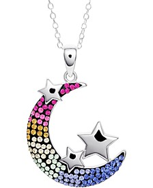 "Crystal Moon & Stars 18"" Pendant Necklace in Sterling Silver, Created for Macy's"