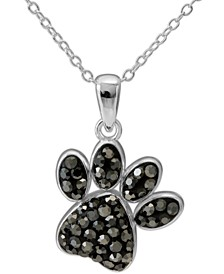 "Crystal Paw Print 18"" Pendant Necklace in Sterling Silver, Created for Macy's"