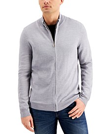 Men's Merino Zip-Front Sweater, Created for Macy's