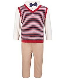 Baby Boys 4-Piece Sweater Vest, Shirt, Pants and Bowtie Set, Created for Macy's