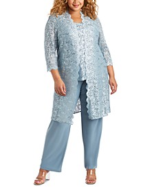 3-Pc. Plus Size Sequined Lace Pantsuit & Shell