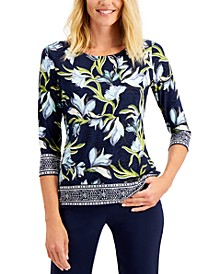 Petite Printed 3/4-Sleeve Jacquard Top, Created for Macy's