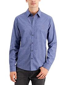 Men's Long-Sleeve Mini Petal-Print Shirt