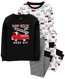 Toddler Boy 4-Piece Firetruck Snug Fit Cotton PJs