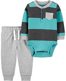 Baby Boy 2-Piece Rugby Striped Bodysuit Pant Set