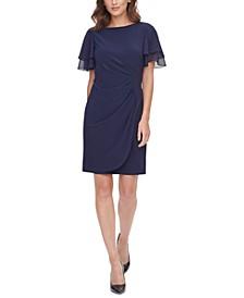 Petite Chiffon-Sleeve Sheath Dress