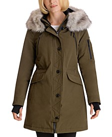 Faux-Fur-Trim Hooded Water-Resistant Parka