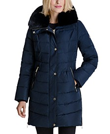 Faux-Fur Collar Puffer Coat, Created for Macy's