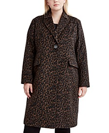 Plus Size Leopard-Print Walker Coat, Created for Macy's