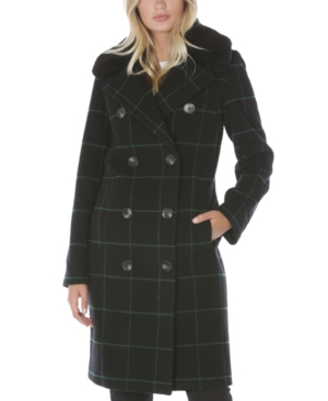 Tahari PLAID FAUX-FUR-COLLAR DOUBLE-BREASTED COAT