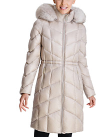 Michael Michael Kors High-Shine Faux-Fur-Trim Hooded Down Coat, Created for Macy's