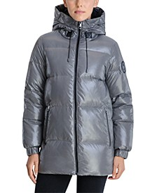 High-Shine Hooded Down Puffer Coat, Created for Macy's