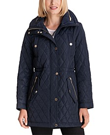 Petite Hooded Quilted Anorak Coat, Created for Macy's