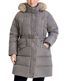Michael Michael Kors Plus Size Belted Faux-Fur Trim Hooded Puffer Coat