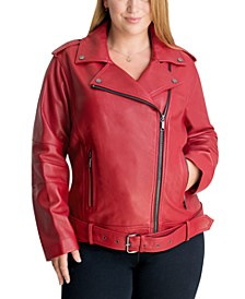 Plus Size Leather Moto Jacket, Created for Macy's