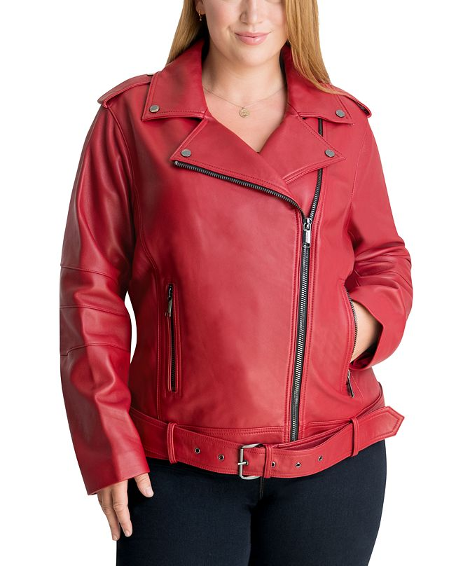 Michael Kors Plus Size Leather Moto Jacket, Created for Macy's