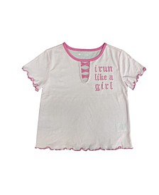 Big Girls Cotton Lace-Up Lettuce Hem T-Shirt, Created for Macy's