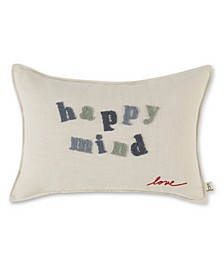 "14"" L x 20"" W Happy Mind Embroidered Lumbar Pillow"