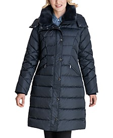 Faux-Fur Collar Hooded Down Puffer Coat