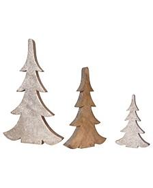 """16.25"""" Glittered Wood Tree Set of 3 Sizes"""