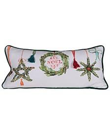 "Reversible Cotton Lumbar Pillow with ""Noel"" Tassels, Ornaments Piped Edge Velvet Back, 30"" x 14"""