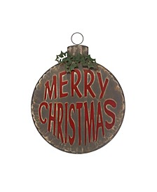 "Ornament Shaped Metal Wall Decor with Embossed ""Merry Christmas"" Heavily"