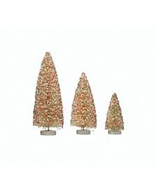 Bottle Brush Trees with Sprinkles on Wood Base Set of 3 Sizes