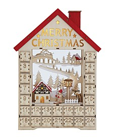 Wood House Shaped Advent Calendar with Numbered Boxes LED Light