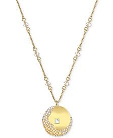 "Gold-Tone Crystal Air Coin Pendant Necklace, 16-1/2"" + 2"" extender"