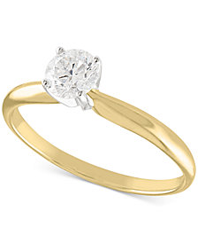 Certified Diamond Solitaire Engagement Ring (1/2 ct. t.w.) in 14K White or Yellow Gold