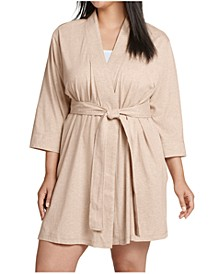 Plus Size Short Cotton Wrap Robe