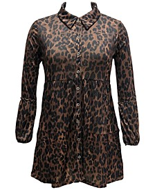Plus Size Animal-Print Mesh Shirt, Created for Macy's
