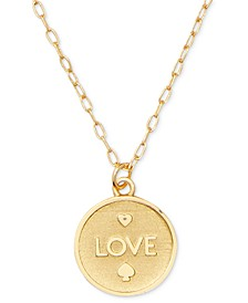 "Gold-Tone LOVE Pendant Necklace, 18"" + 3"" extender"