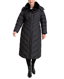 Plus Size Maxi Faux-Fur-Trim Hooded Down Puffer Coat