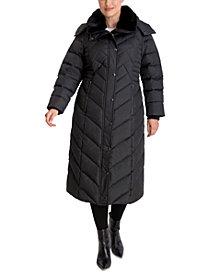 London Fog Plus Size Maxi Faux-Fur-Trim Hooded Down Puffer Coat